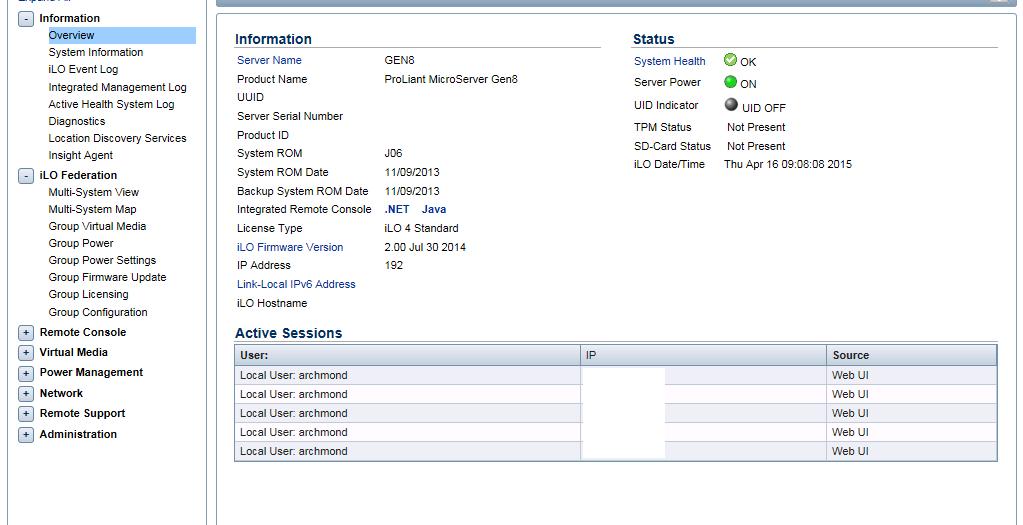HP MicroServer Gen8 iLO 4 외부에서 사용하기 – 아크몬드넷