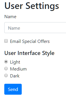User Settings  Name  Name  Email Special Offers  User Interface Style  Light  O  Medium  O  Dark  Send