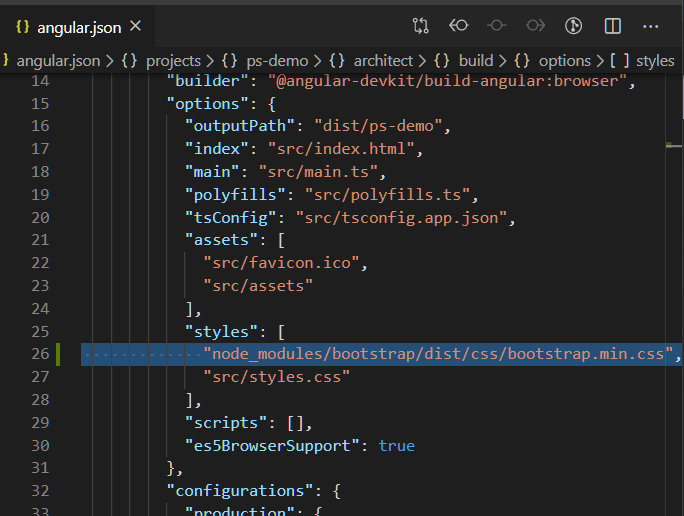 "{l angular.json  angular.json >  14  15  16  17  18  19  20  21  22  23  24  25  26  27  28  29  30  31  32  projects ps-demo > {Y architect > { } build > {y options > [ ] styles  ""builder "" :  ""@angular-devkit/build - angular : browser"" ,  ""options "" :  ""outputPath ""dist/ps-demo"" ,  ""index"": ""src/index. html "" ,  ""main"" • ""src/main.ts""  ""polyfills"": ""src/polyfills . ts""  ""tsConfig""• ""src/tsconfig. app. json""  ""assets "" :  ""src/favicon . ico""  ""src/assets""  "" styles "" •  "" node_modules/bootstrap/dist/css /bootstrap. min. css  "" src/styles . css""  ""scripts""  "" es5BrowserSupport "" •  ""configurations"" .  true"
